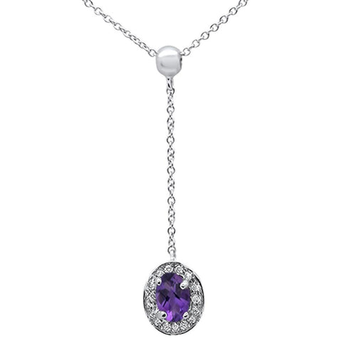 ".43cts 10k White Gold Amethyst & Diamond Lariat Pendant Necklace 18"" Long"