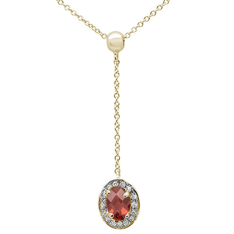 ".70cts 10k Yellow Gold Garnet & Diamond Lariat Pendant Necklace 18"" Long"