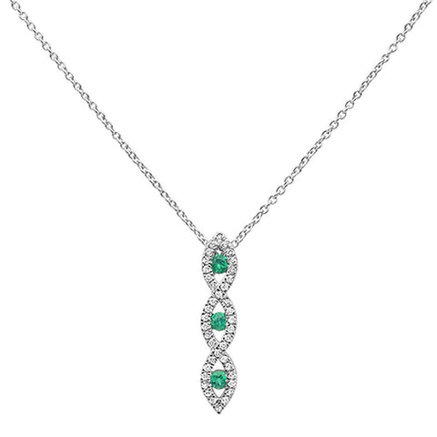 .25ct 10k White Gold Emerald & Diamond Infinity Pendant Necklace 18""