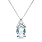 .68ct 10k White Gold Aquamarine & Diamond Solitaire Pendant Necklace 18""