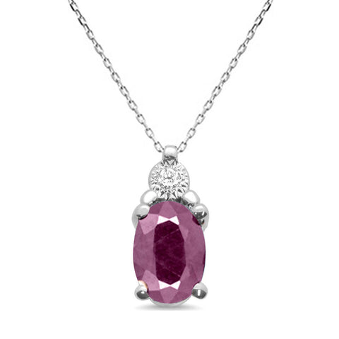 .79ct 10k White Gold Ruby & Diamond Solitaire Pendant Necklace 18""