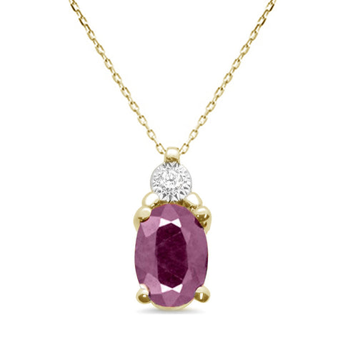 1.50ct 10k Yellow Gold Ruby & Diamond Solitaire Pendant Necklace 18""