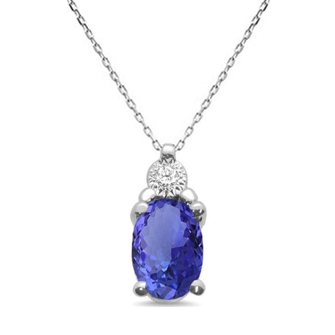 .96ct 10k White Gold Tanzanite & Diamond Solitaire Pendant Necklace 18""