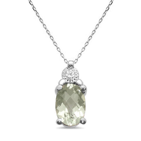 .66ct 10k White Gold Green Amethyst & Diamond Solitaire Pendant Necklace 18""
