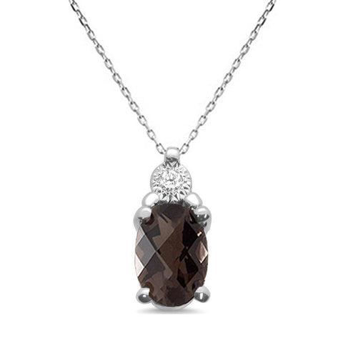 .72ct 10k White Gold Smoky Topaz & Diamond Solitaire Pendant Necklace 18""