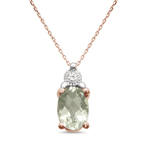 .68ct 10k Rose Gold Green Amethyst & Diamond Solitaire Pendant Necklace 18""