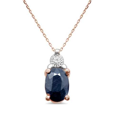 "1.08ct 10K Rose Gold Blue Sapphire & Diamond Pendant Necklace 18"" Long"