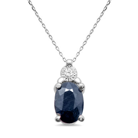 "1.68ct 10K White Gold Blue Sapphire & Diamond Pendant Necklace 18"" Long"