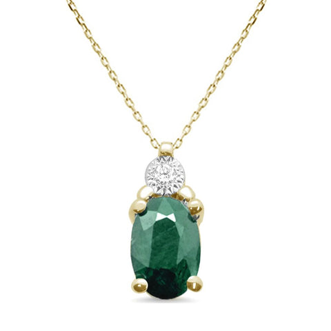 "1.14ct 10K Yellow Gold Natural Emerald & Diamond Pendant Necklace 18"" Long"