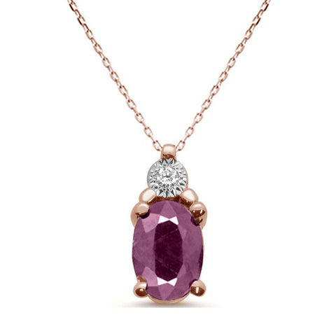 "1.51ct 10K Rose Gold Natural Ruby & Diamond Pendant Necklace 18"" Long"