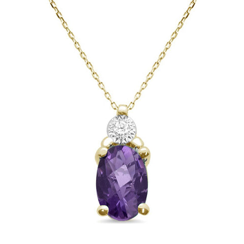 .67ct 10k Yellow Gold Amethyst & Diamond Solitaire Pendant Necklace 18""