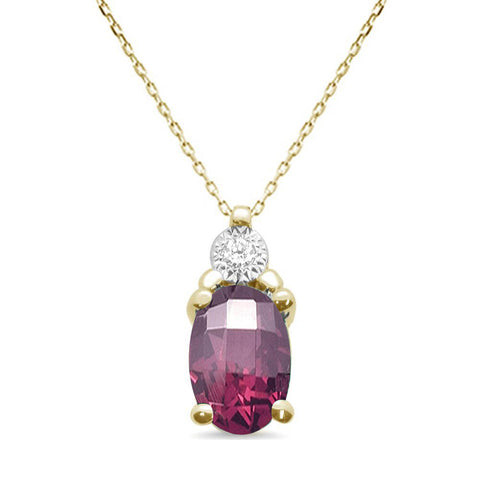 .92ct 10k Yellow Gold Rhodolite & Diamond Solitaire Pendant Necklace 18""