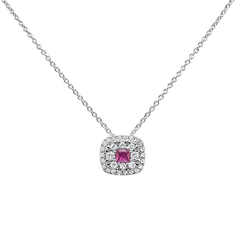.34ct 10k White Gold Ruby & Diamond Pendant Necklace 18""