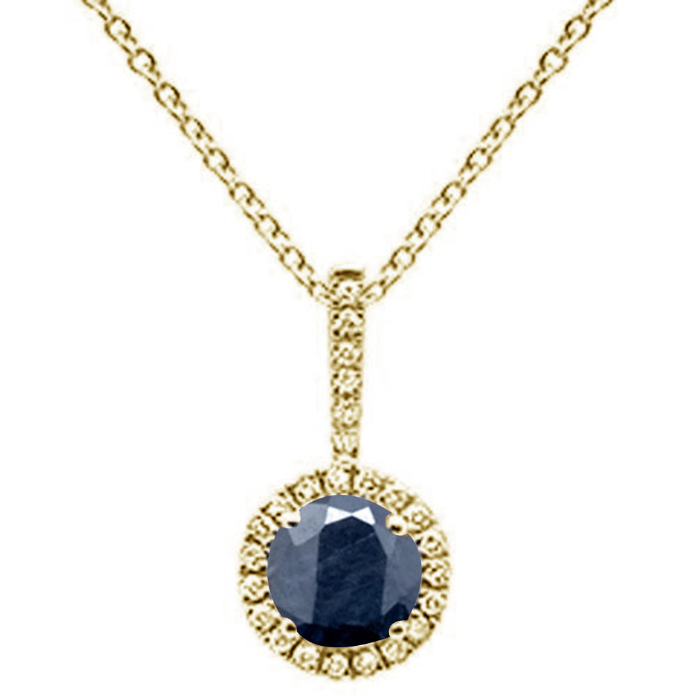 ".72ct Round Blue Sapphire 10k Yellow Gold Diamond Pendant Necklace 18"" Long"