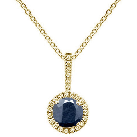 ".63ct Round Blue Sapphire 10k Yellow Gold Diamond Pendant Necklace 18"" Long"