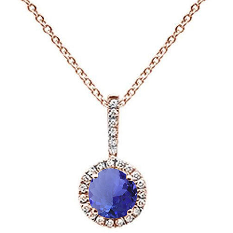 ".59ct Round Tanzanite 10k Rose Gold Diamond Pendant Necklace 18"" Long"