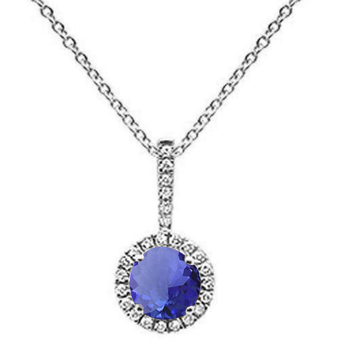 ".68ct Round Tanzanite 10k White Gold Diamond Pendant Necklace 18"" Long"