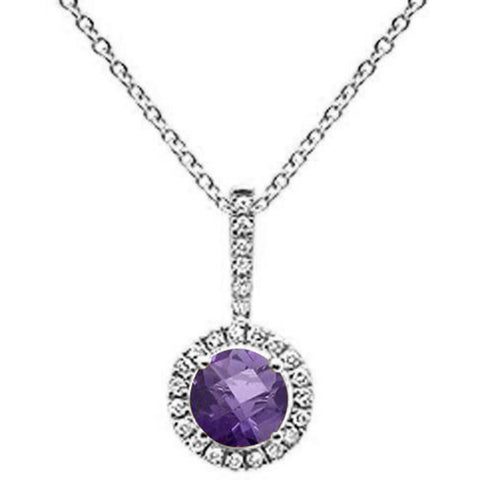 ".61ct 10k White Gold Round Amethyst & Diamond Pendant 18"" Long"
