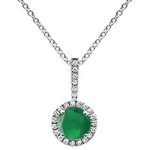 ".49ct Round Emerald 10k White Gold Diamond Pendant Necklace 18"" Long"