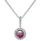".69ct 10k White Gold Round Rhodolite & Diamond Pendant 18"" Long"