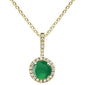 ".50ct Round Emerale 10k Yellow Gold Diamond Pendant Necklace 18"" Long"