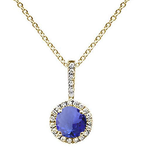 ".66ct Round Tanzanite 10k Yellow Gold Diamond Pendant Necklace 18"" Long"