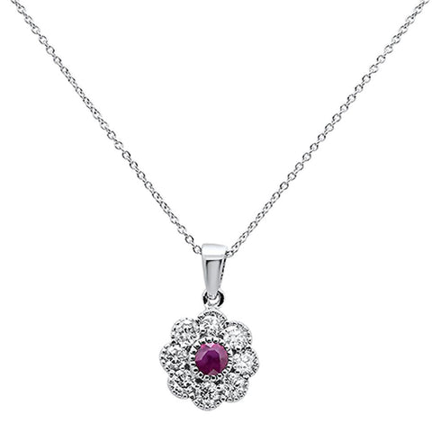 1.06ct 10k White Gold Ruby & Diamond Flower Pendant Necklace 18""