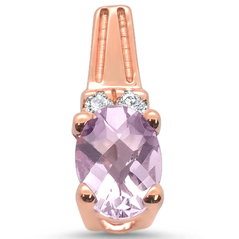 0.75cts 10k Rose Gold Oval Pink Amethyst & Diamond Pendant
