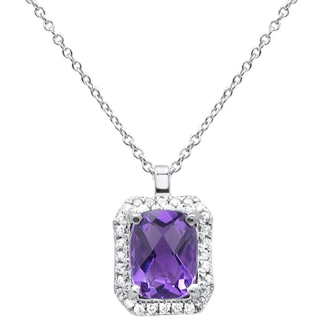 1.21ct 10k White Gold Amethyst & Diamond Necklace 18""