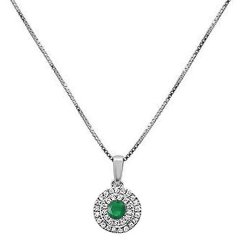 .32cts 10k White Gold Round Emerald & Diamond Pendant