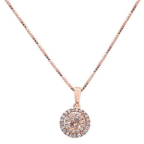 0.36cts 10k Rose Gold Round Morganite & Diamond Pendant