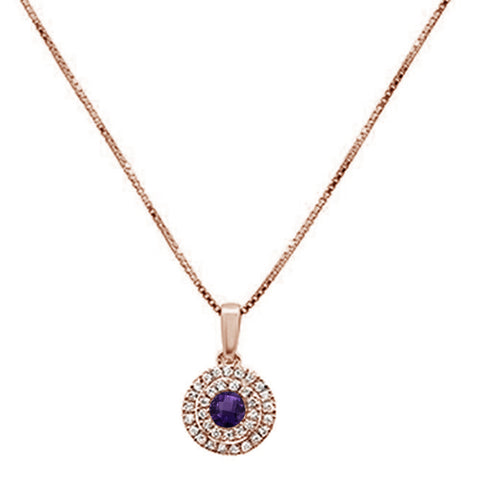 .37cts 10k Rose Gold Round Amethyst & Diamond Pendant