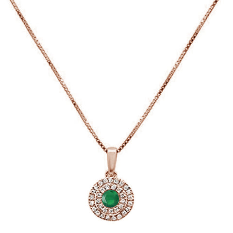 .33cts 10k Rose Gold Round Emerald & Diamond Pendant