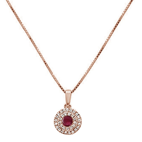 .35cts 10k Rose Gold Round Ruby & Diamond Pendant