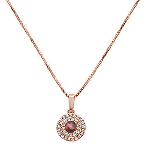 .43cts 10k Rose Gold Round Garnet & Diamond Pendant