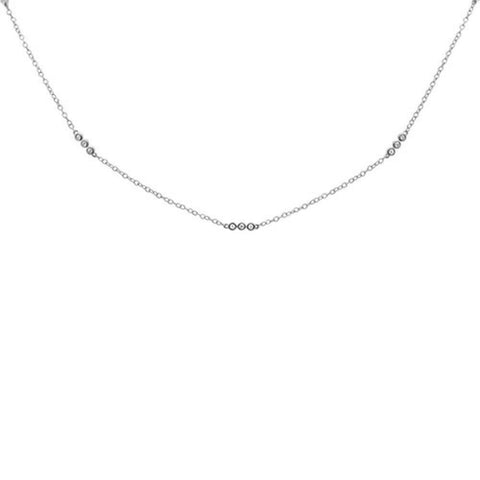".20ct 14k White Gold Diamond 3 Bezel Station Necklace 18"" Long"