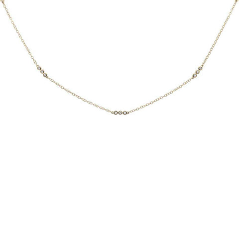 ".20ct 14k Yellow Gold Diamond 3 Bezel Station Necklace 18"" Long"