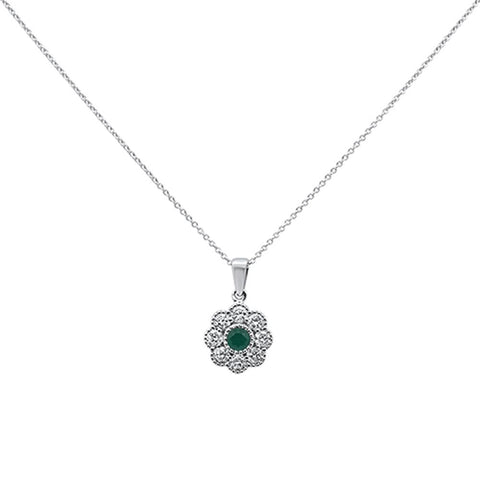 1.44cts 10k White Gold Green Emerald & Diamond Pendant Necklace 18""
