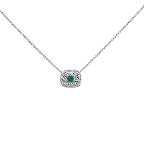 ".49cts 14k White Gold Green Emerald & Diamond Pendant 18"" Necklace"