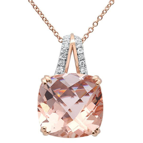 5.85cts 14k Rose Gold Cushion Morganite & Diamond Pendant