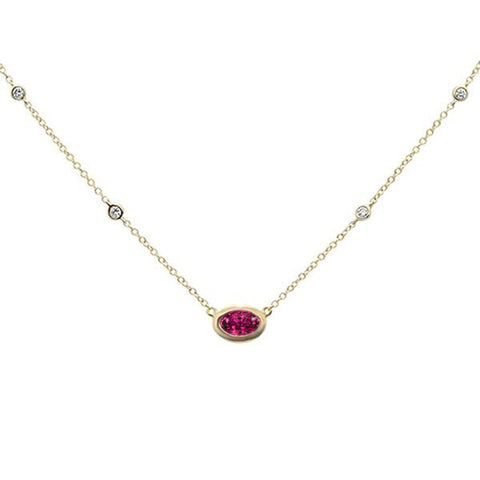 ".55cts 14k Yellow Gold Pink Tourmaline & Diamond Pendant Necklace 18"" Long"