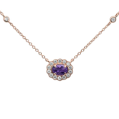 ".63cts 14k Rose Gold Oval Amethyst & Diamond Pendant Necklace 18"" Long"