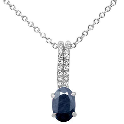 .63ct 10k White Gold Natural Blue Sapphire & Diamond Solitaire Pendant Necklace 18""