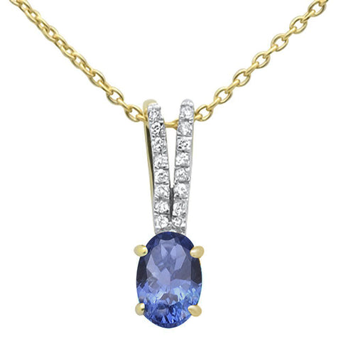 .71ct 10k Yellow Gold Tanzanite & Diamond Solitaire Pendant Necklace 18""