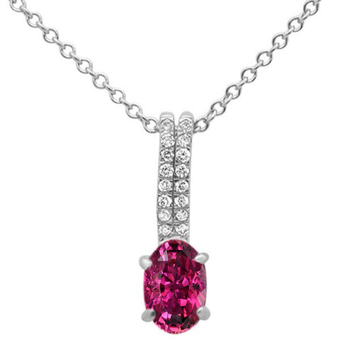 ".43cts 10k White Gold Pink Tourmaline & Diamond Pendant Necklace 18"" Long"