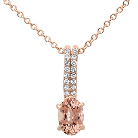 ".44cts 10k Rose Gold Oval Morganite & Diamond Pendant Necklace 18"" Long"