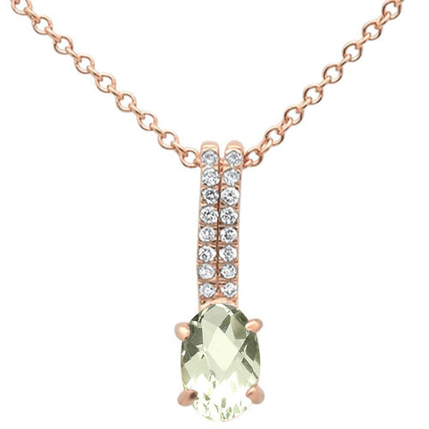 .55ct 10k Rose Gold Green Ametyst & Diamond Solitaire Pendant Necklace 18""