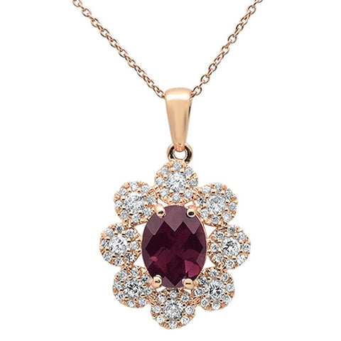 "2.76cts 10k Rose Gold Rhodolite & Diamond Pendant Necklace 18"" Long"
