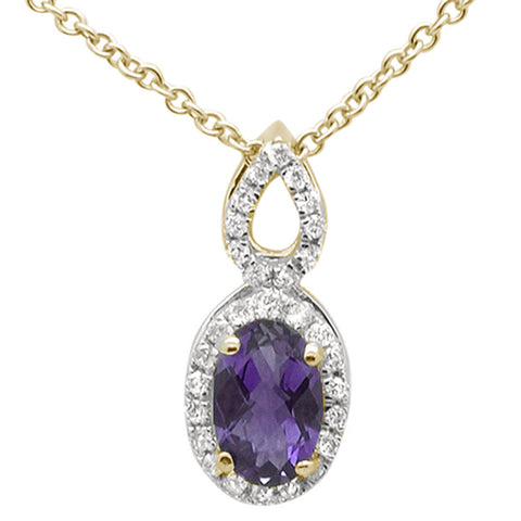 ".52cts 10k Yellow Gold Amethyst & Diamond Pendant Necklace 18"" Long"