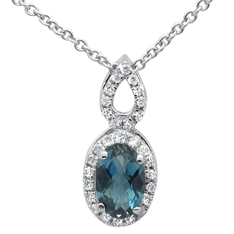 ".56cts 10k White Gold Oval Blue Topaz & Diamond Pendant Necklace 18"" Long"
